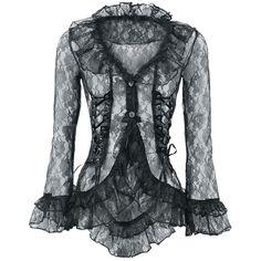 """Romantisch, schicke Gothic-Bluse """"Lace Jacket""""    - aus schwarzer, transparenter Spitze  - Schnürung an den Seiten  - Volants an den Säumen  - Knopfverschluss"""