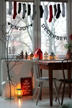 enjoy christmas xmas december  keep calm and wish for snow chairs white floor advent calendar