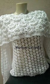 My mother would crochet. I tried when I was younger but never had patience or time. This is pretty - Crochet patterns: Awesome Flower Cape Style Blouse - Free Crochet Chart Crochet Bolero, Cardigan Au Crochet, Crochet Shirt, Crochet Scarves, Irish Crochet, Crochet Clothes, Crochet Stitches, Knit Crochet, Crochet Patterns