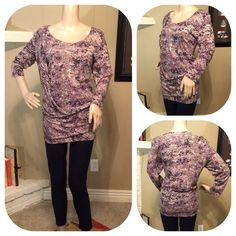 Daisy Fuentes multicolor draped side top Unique and fun sexy top with draping on right front side. Flattering on! Looks great with dark denim! Daisy Fuentes Tops Blouses