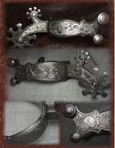 Academy of Western Artists 2015 Engraver of the Year - Pieces For Sale Spurs Western, Cowboy Spurs, Cowboy Gear, Western Hats, Wade Saddles, Custom Belt Buckles, Spur Straps, Silver Work, Engraved Jewelry