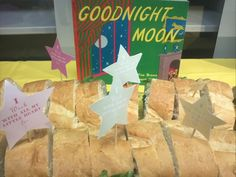 Book Themed Baby Shower - Good Night Moon - Sandwiches with stars and moons on toothpicks.