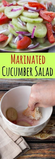 Marinated Cucumber Salad - an easy vegetarian recipe. Love the vinegar!