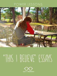 """Power Lessons: """"This I Believe"""" Essays - This assignment builds bonds between students and prompts them to be more intentional with the language they use, both in word choice and rhetorical strategies. Writing Classes, Writing Lessons, Writing Workshop, Teaching Writing, Teaching Strategies, Writing Activities, Writing Services, Teaching English, Essay Writing"""