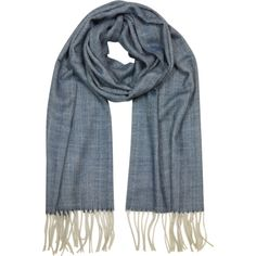 Mila Schon Long Scarves Herringbone Cashmere wool and Silk Fringed... ($115) ❤ liked on Polyvore featuring accessories, scarves, blue, long scarves, silk scarves, blue scarves, cashmere scarves and cashmere silk scarves
