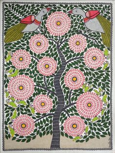 "Kalpvriksha (The tree of life)   Madhubani Painting by Amrita Jha. 28""X20"" inches, acrylic on paper."