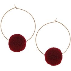 Humble Chic NY Pom Pom Hoop Earrings (27 100 LBP) ❤ liked on Polyvore featuring jewelry, earrings, burgundy, pom pom earrings, loop earrings, poms jewellery, statement earrings and burgundy earrings