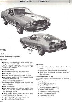 1976 Ford Mustang II Cobra II Features