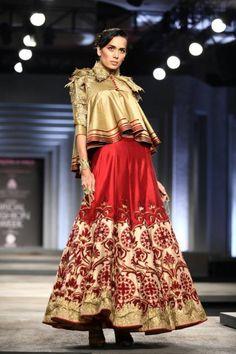 India Bridal Fashion Week 2013: Shantanu & Nikhil red and gold lehnga with jacket