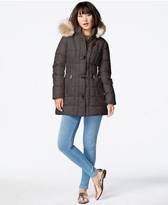 Laundry by Design Faux-Fur-Trim Toggle-Front Puffer Coat - Coats - Women - Macy's