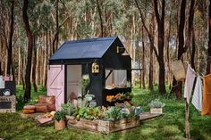 Cool cubby! | BLACK BARN CUBBY – A FOREST PHOTOSHOOT | Castle & Cubby | Cubby Houses Australia | Kids Cubbies House For Sale & Hire
