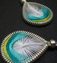 Sprite- handmade thread earrings by Funky Lobez