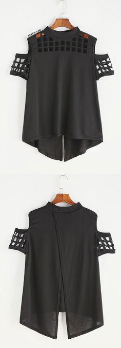 Black Open Shoulder Laser Cut Out Split Back T-shirt
