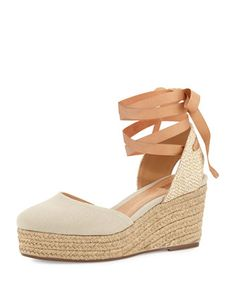 Caysey Jute/Canvas Espadrille Wedge, Natural by Schutz at Neiman Marcus Last Call.