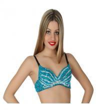 Sujetador o Top Danza árabe azul de lentejuelas. Ideal para la Danza del vientre y como complemento para el disfraz de Sirenita.