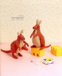 tiny felt kangaroos from a japanese book - love the little joey!