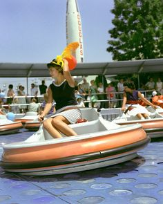 flying saucers - disneyland /// I had no idea that this is where the idea for Luigi's flying tires came from!