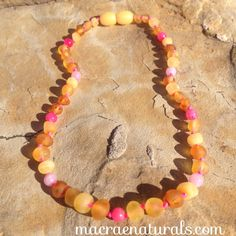 "Custom Raw Baltic Amber Teething Necklace in ""Meadow"" by MacRaeNaturals, $32.95"