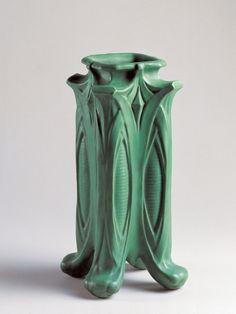 "Teco Pottery - Vase, Number 434. Matte Glazed Pottery. Designed by Fernand Moreau. Chicago, Illinois. Circa 1900. 11-1/2""."