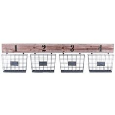 Store, organize, and display a variety of items in this rustic Whitewash Wooden Shelf with 4-Iron Baskets! This shabby-chic organizer features four numbered mounted stationary iron baskets, each with a label holder on the front for optimized sorting. Made to hang on the wall, this organizer is perfect for placing in the entryway to catch mail, keys, and other odds and ends; for the bathroom to hold lotions, face creams, toothpaste and other toiletries; in the craft room for small, ...