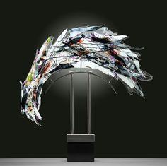 Glass sculpture named White Satin