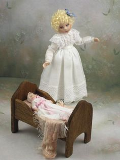 1:12 Dollhouse Miniature Porcelain Little Girl and Her Baby Doll by Terri Davis