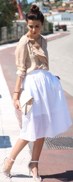 Zara White Eyelet High Waisted Midi A-skirt