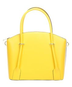 Yellow Curved Leather Tote #zulily #zulilyfinds