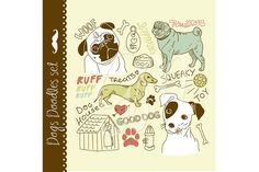 24 Dogs clip art elements. Pug puppy by GraphicMarket on @creativemarket.  I love this dogs clipart set ! It includes Pugs, puppy, Jack Russell terrier, kennel, paw print, dog collar, pet care, dog food, dog house, bones and lovely text. Perfect for dog lovers! This digital sheet is ideal for party tags, invites,cupcake toppers,scrap booking and so much more! **Affiliate Link**