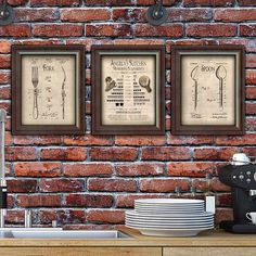 Measuring equivalents, fork patent and spoon patent print set for the kitchen - so cool!