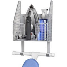 very handy, hangs ironing board and holds iron and sprays (water/starch)- $27