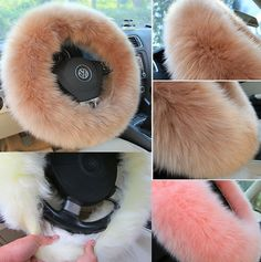 3pcs Winter Steering Wheel Covers Wool Heated Steering Wheel Cover Plush Covers #Unbranded