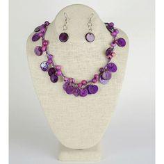 Joya: Purple Acai Seed and Tagua Rounds Necklace and Earring Set