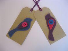 Purple Blue Felt Bird Gift Tags £2.95