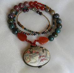 Beaded jewelry w/ bone locket w/ illustration pendant necklace , vintage Chinese bone locket , moss agate necklace , vintage Asian jewelry