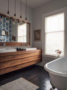 Image result for exposed bulb lighting bathroom