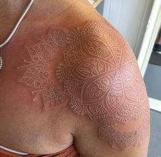 Amazing white ink mandala flower tat on shoulder by Eclipse1966