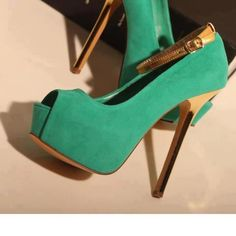 Sea Green Heels with Gold Ankle Strap