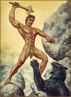 George Quaintance original oil painting depicting a male seminude fighting a wild panther Primitive Man