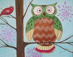 #OwlArt.  by Judy Jones #painting