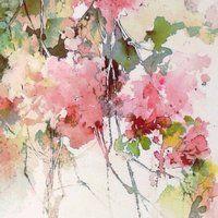 Impression Fleurs Roses Aquarelles Aquarelle Art Print Art