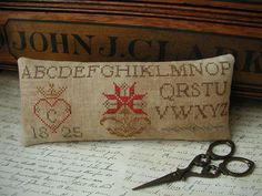 Primitive Cross Stitch Pinkeep Pattern - Chelseas Pinkeep. $10.00, via Etsy.