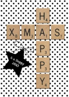 Use scrabble printable and paste letters onto packages - or do with real scrabble letters Noel Christmas, Christmas And New Year, Scrabble Letters, Scrabble Tiles, Theme Noel, Christmas Inspiration, Diy Cards, Holiday Crafts, Merry Christmas