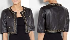 Moschino Cheap and Chic Crop Black Chain Leather Jacket