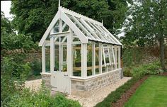 Cool Home Creations: - small greenhouse for side yard! Backyard Greenhouse, Small Greenhouse, Greenhouse Plans, Victorian Greenhouses, Wooden Greenhouses, Garden Buildings, Garden Structures, Gazebos, Shed Plans
