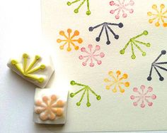 hand carved rubber stamps by talktothesun. set of 2 botanical pattern rubber stamps inspired by plants and seeds. botanical plant stamp series for your spring, christmas diy crafts. Clay Stamps, Stencil, Make Your Own Stamp, Stamp Carving, Handmade Stamps, Fabric Stamping, Love Stamps, Homemade Crafts, Tampons