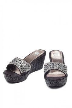 Zani Wedge Sandal in Black