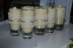 White Chocolate Mousse Shots Chocolate Shots, White Chocolate Mousse, Event Organization, Event Decor, Candle Holders, Candles, Porta Velas, Candy, Candle Sticks