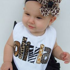 Personalized Bib Appliqued in animal prints by TriedAndTrueDesigns, $14.00