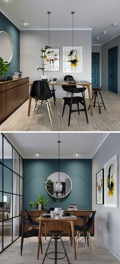 Dans cette salle à manger la bonne idée est les chaises dépareillées mais pour ne pas attirer toute l'attention et mettre en avant le beau mur bleu canard, les chaises sont différentes mais toutes de la meme couleur noire https://clemaroundthecorner.com